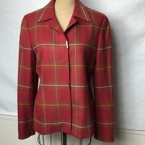 Carlisle wool cashmere plaid snap front jacket